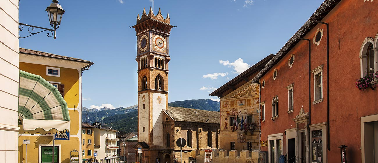 The historic center of the town of Cavalese in Val di Fiemme