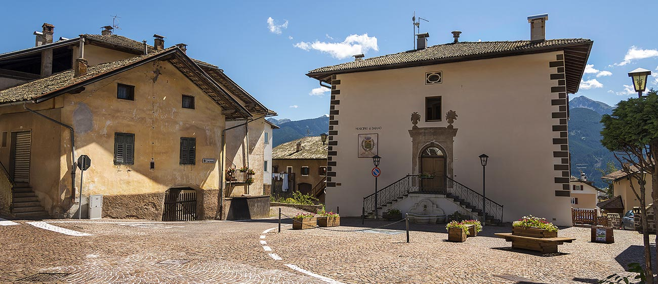 The town hall square of Daiano in Val di Fiemme